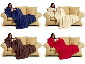Snug Fleece Deluxe Coral Warm Sleeved  Snuggle Blanket,Snuggle With Pockets