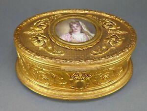 Antique French Cast Bronze Gold Gilt Miniature Portrait Painting Art Nouveau Box
