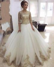 New Gold Lace Sequin 3/4 Sleeve Wedding Dresses A Line Scoop Bridal Gowns Muslim