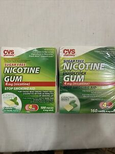 CVS Sugar Free 4mg Cool Mint / Coated Nicotine Gum 160, 100 Pieces 04/17 exp