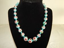 BABY BLUE WITH PINK FLOWER MOTIF CLOISONNE BEAD NECKLACE