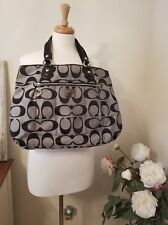 Coach Poppy Signature Glam Tote Gray/Navy/Silver Large EUC - Take a look!