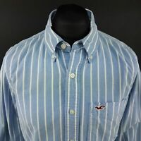 Hollister Mens THICK Shirt XL Long Sleeve Blue Slim Fit Striped Cotton