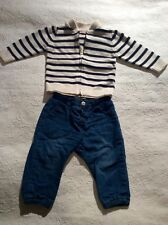 Baby boy French nautical style outfit cotton striped cardigan jeans 6-9 months