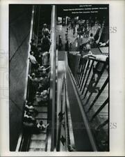 1969 Press Photo People on escalator at Houston Intercontinental Airport