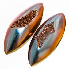 "1"" PAIR US-MADE SUNSET TITANIUM DRUZY DRUSY 25x10MM 15.0CT cabochon"
