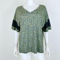 Maurices 24/7 Size XXL Knit Top Short Sleeve V Neck Green Gray Leopard Shirt