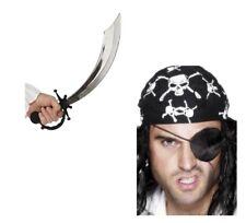 Men's Pirate Eye Patch & Sword Fancy Dress Johnny Depp Caribbean Movie Stag Fun
