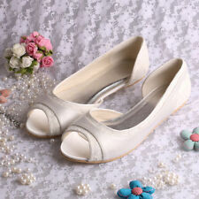 Flat (less than 0.5') Peep Toes Bridal Shoes