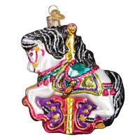 """Carousel Horse"" (44112)X Old World Christmas Glass Ornament w/ OWC Box"