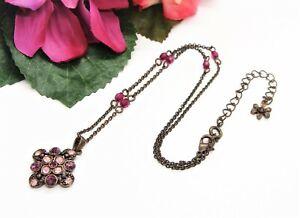Sweet! NR Avon Coppertone Purple Beads & Rhinestones Pendant Necklace!