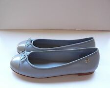 CHANEL CC Blue Leather Ballet Ballerina Flats Shoes with Bow 38,5 NIB