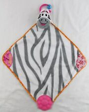 MUNCHKIN Zebra Teether Sensory Lovey Security Blanket White Gray Pink