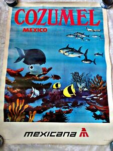 """ORIGINAL COZUMEL MEXICO VINTAGE TRAVEL POSTER    37 """" BY 27 """" MEXICANA AIRLINES"""