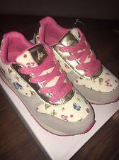 Hanna Andersson Jamie Butterfly Canvas Suede Sneakers Beige Girl Size 1 Y NIB