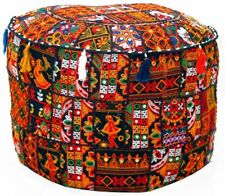 Indian Embroidered Ottoman Pouf Case Vintage Patchwork Home Decor Pouffe Cover