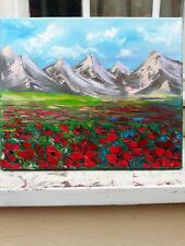 Quadro Olio su tela  Fiori 29.5 x 24.5 cm dipinto con telaio toscana papaveri