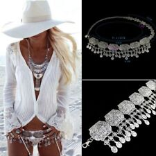 cinturon aleacion bohemio Retro Gypsy Boho Beach Silver Coin Carved Tassel Belt