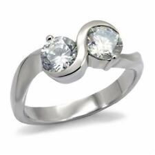 072 DOUBLE SOLITAIRE SIMULATED DIAMOND RING STAINLESS STEEL NO TARNISH WOMENS