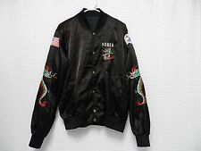 vtg Korea Tour Jacket satin nylon button snap USA flag patch Dragon Sleeves RARE