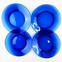 """Cobalt Blue Glass Dinner Plates 9-7/8"""" Unmarked  Set of 4 Vintage"""