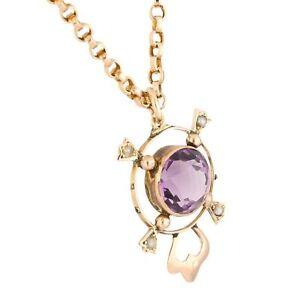 "Vintage 9Ct Rose Gold Amethyst & Pearl Pendant (18x24mm) & 17.25"" Belcher Chain"