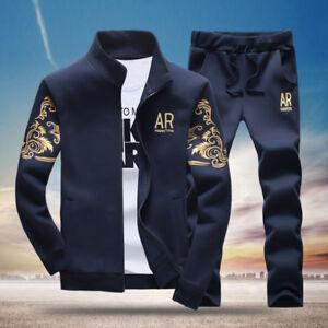 2pcs Men's Tracksuit Sports Suit Set Casual Jogging Hoodies Long Pants Plus Size