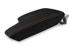 Console Armrest Cover Carbon Fiber for Subaru Crosstrek 2018-2020, Orange Stitch