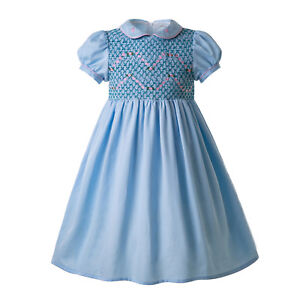 Kids Girls Hand-Smocked Dresses Spanish Outfits World Book Day Party Pageant
