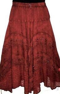 Advance Womens Skirt Long Boho Embellished Flared Tiered Free Size Fits M L Red