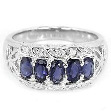 Sterling Silver 925 Genuine Blue Violet Iolite Band Design Ring Size S.5 US 9.5