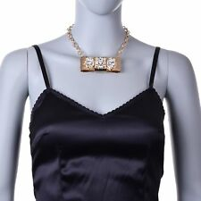 Dolce&Gabbana Women Gold Brass Clear Crystal Bow Sicily Necklace Choker