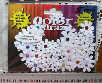 80 Florettes - DIY - WHITE with Multi-Coloured Jewels - 15-25mm Petaloo I