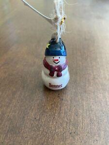 DENNIS Personalized Snowman Ornament GANZ