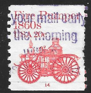 U.S. Scott #1908 20c Fire Pumper USED PS1 Plate #14 VF Purple Cancel Cat. $95.00