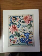Antique Chinese Silk Embroidery Fragment Flowers