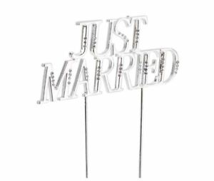 NEW Wilton Just Married Cake Pick With Rhinestones Silver Color Wedding Cakes