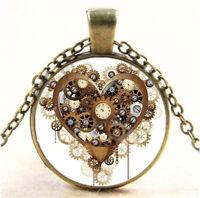 Vintage Retro Steampunk Heart Photo Cabochon Glass Pendant Bronze Chain Necklace