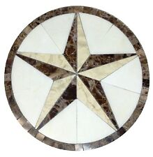 Floor Marble Round Medallion Crema Marfil Texas Star Tile Mosaic 30 inches