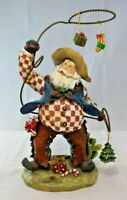 "10"" Resin Cowboy Santa Claus with Lasso Figurine"