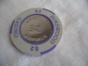 1980s $2 Burswood Casino Gaming Token Chip Crown Perth Western Australia