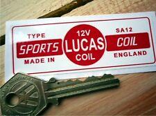 LUCAS Sports Coil Race Car STICKER Red & White 12V SA12 Classic Racing No33