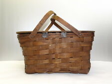 Antique Old Used Wood Wooden Woven Decorative Picnic Basket with Lid and Handles