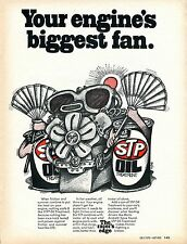 1970 STP Oil Treatment The Racer's Edge Your Engine's Biggest Fan Print Ad