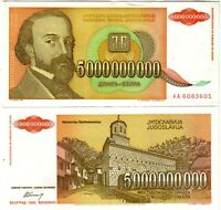 Banknote - 1993 Yugoslavia, 5000000000 (5 Billion) Dinars, P135 UNC, Monastery