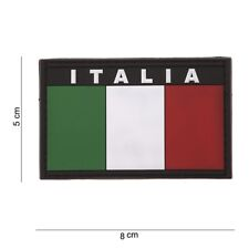 Toppa 3D Patch Scretch scritta ITALIA e Bandiera Plastificata in PVC con velcro