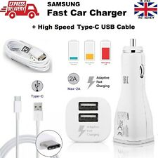 Genuine SAMSUNG Fast 2A Car Charger For Galaxy S10 S10+ S10E + 1.2M Type-C Cable