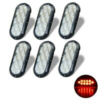 """6 6"""" Oval Clear / Red 10 LED w/Flange Mount Stop Turn Tail Brake Light Utility"""