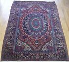 ANTIQUE SAROUKK HAND KNOTTED WOOL PEACOCK TAIL FEATHER DESIGN ORIENTAL RUG 4x6.4