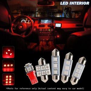 6x Red Car Interior LED SMD Light Bulbs Package Kit For Toyota RAV4 2001-2005